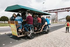 Entertainment for tourists is a bike bar tour. Stock Photo