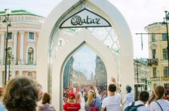 entertainment for tourists in St. Petersburg. Video communication with residents of stock image