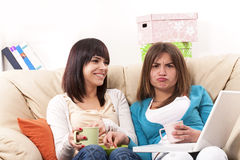 Entertainment with TV. Beautiful girls Stock Image