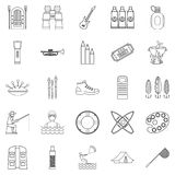 Entertainment on the water icons set outline Stock Images