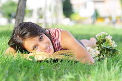 Entertainment of young woman, looking in camera Stock Image