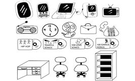 Entertainments icons. Clip art of stuff using in office or on going Royalty Free Stock Photo