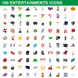100 entertainments icons set, cartoon style Royalty Free Stock Photos
