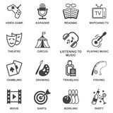 Entertainments icons set Stock Image