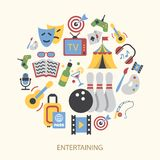 Entertainments icons set Stock Images