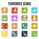 Entführer-Terrorist-Airplane-Autobombe, Vektor Ikone Stockbilder