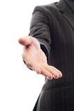 Entfaltete Hand des Mannes zum zu rütteln Stockbilder