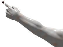 Entfalteter Arm mit dem Zeigen der Hand Stockfotos