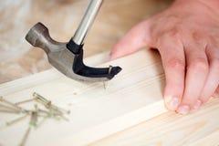 Entfernen des Nagels von der hölzernen Planke unter Verwendung des Hammers Stockbild
