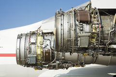 Entfernender Flugzeugmotor Stockbild