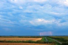Entfernte Blitzschläge über Feld Stockfotografie