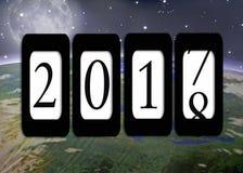 Entfernungsmesser 2018 des neuen Jahres und Planetenerde Lizenzfreies Stockfoto