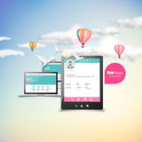 Entgegenkommende Auslegung für Web-Bildschirm, smartphone, Tabletteikonen eingestellt lizenzfreie abbildung