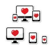 Entgegenkommende Auslegungsikonen - Überwachungsgerät, Zelle/Handy, Tablette Lizenzfreies Stockbild