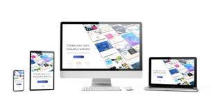entgegenkommende Geräte lokalisierter Entwurfswebsiteerbauer lizenzfreie stockfotos