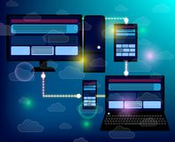 Entgegenkommende Internet-Website der Schaffung für mehrfache Plattformen lizenzfreie abbildung