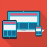 Entgegenkommendes Design von PC, von Tablette und von Mobile Lizenzfreie Stockfotografie
