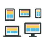 Entgegenkommendes Webdesign auf Geräten Stockfoto