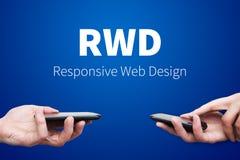 Entgegenkommendes Webdesign auf tragbaren Geräten Stockbilder