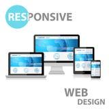 Entgegenkommendes Webdesign auf verschiedenem Gerät Stockfotografie