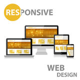 Entgegenkommendes Webdesign auf verschiedenem Gerät Stockfotos