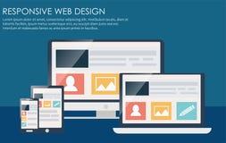 Entgegenkommendes Webdesign, einschließlich Laptop, den Desktop, Tablette und Handy Stockfotos