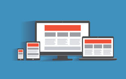 Entgegenkommendes Webdesignkonzept Tischrechner Stockfotografie