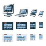 Entgegenkommendes Websitedesign auf verschiedenen elektronischen Geräten Stockbilder