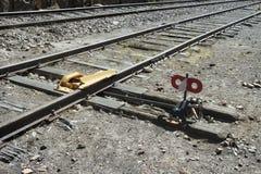 Entgleisungsausrüstung auf peruanischer Eisenbahnlinie Lizenzfreies Stockfoto