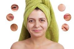 Enthäuten Sie Schönheitskonzept - Nahaufnahme auf dem lokalisierten Gesicht der Frauen stockbilder