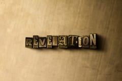 ENTHÜLLUNG - Nahaufnahme des grungy Weinlese gesetzten Wortes auf Metallhintergrund stock abbildung