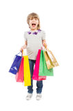 Enthousiast en jong winkelend meisje Royalty-vrije Stock Afbeeldingen
