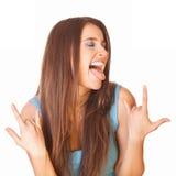 Enthousiaste en gelukkige vrouw Royalty-vrije Stock Afbeelding