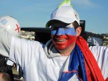 Enthousiaste Sloveense de kopventilator van de voetbalwereld Stock Fotografie