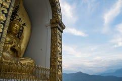 Enthroned Buddha Statue at Shanti Stupa in Pokhara. Nepal Stock Image