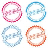 ENTHUSIASM badge isolated on white background. Flat style round label with text. Circular emblem vector illustration Stock Photography