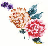 Enthusiasm is bold and unrestrained of flowers, the leaves and flowers art design. Ink painting, watercolor painting, gouache,Flower pattern design Stock Image