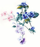 Enthusiasm is bold and unrestrained of flowers, the leaves and flowers art design. Ink painting, watercolor painting, gouache,Flower pattern design Stock Photo