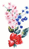 Enthusiasm is bold and unrestrained of flowers, the leaves and flowers art design. Ink painting, watercolor painting, gouache,Flower pattern design Stock Images