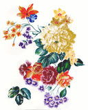 Enthusiasm is bold and unrestrained of flowers, the leaves and flowers art design. Ink painting, watercolor painting, gouache,Flower pattern design Royalty Free Stock Image