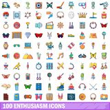 100 enthusiasm icons set, cartoon style. 100 enthusiasm icons set in cartoon style for any design vector illustration Royalty Free Stock Photo