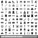 100 enthusiasm icons set, simple style. 100 enthusiasm icons set in simple style for any design vector illustration Royalty Free Stock Images