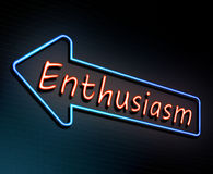 Enthusiasm neon concept. Illustration depicting an illuminated neon sign with an enthusiasm concept Stock Photos