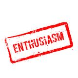 ENTHUSIASM red rubber stamp isolated on white. ENTHUSIASM red rubber stamp isolated on white background. Grunge rectangular seal with text, ink texture and Stock Photography