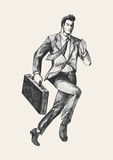 Enthusiasm. Sketch illustration of a businessman running with a briefcase Royalty Free Stock Image