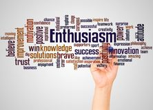 Enthusiasm word cloud and hand with marker concept. On gradient background stock photos