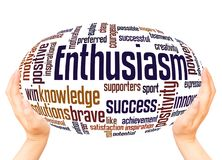 Enthusiasm word cloud hand sphere concept. On white background stock photo