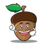 Enthusiastic acorn cartoon character style Royalty Free Stock Photos