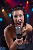 Enthusiastic announcer Stock Image