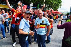 Enthusiastic Belgium Football Fans Royalty Free Stock Photography